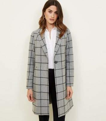 New Look Grey Grid Check Longline Coat