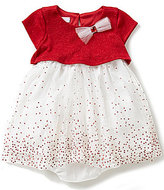 Bonnie Jean Bonnie Baby Baby Girls Newborn-24 Months Sparkle-Knit Popover to Glitter Mesh Dress