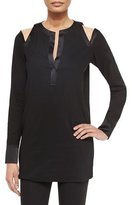 Donna Karan Cold-Shoulder Satin-Trimmed Tunic