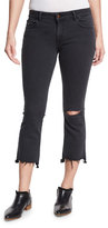 DL1961 Lara Cropped Flare-Leg Jeans with Ripped Knee, Black