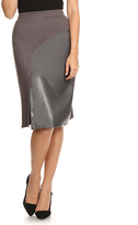 Gray Front-Slit Skirt - Plus