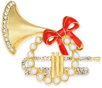 Charter Club Gold-Tone Pave & Imitation Pearl French Horn Box Pin