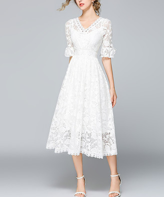 Vicky and Lucas Women's Special Occasion Dresses WHITE - White Lace-Overlay Ruffle-Sleeve Midi Dress - Women