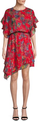Iro . Jeans Ruffle Floral Silk Dress