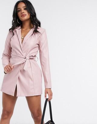 Flounce London Club tie waist blazer dress in pink