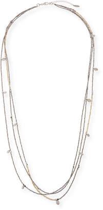 Brunello Cucinelli Silver & Riverstone 3-Strand Necklace