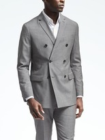 Banana Republic Slim Double Breasted Gray Houndstooth Wool Suit Jacket