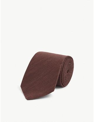 Eton Textured cotton, linen and silk tie
