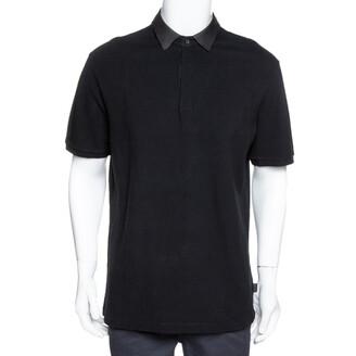 Gucci Black Cotton Pique Leather Collar Polo T-Shirt XXL