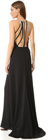 Halston High Neck Gown with Multi Chain Back