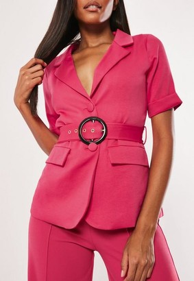 Missguided Hot Pink Co Ord Short Sleeve Belted Blazer