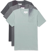 Maison Margiela Three-Pack Slim-Fit Spray-Painted Cotton-Jersey T-Shirts