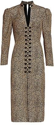 Saloni Andrea Leopard Print Silk Sheath Dress