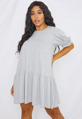 Missguided Plus Size Grey Puff Sleeve Smock Dress