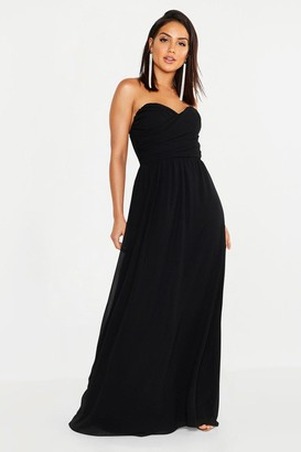 boohoo Chiffon Bandeau Sweetheart Maxi Bridesmaid Dress