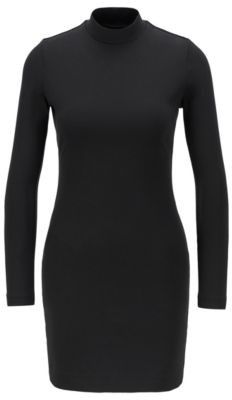 HUGO BOSS High Neck Jersey Dress With Open Back - Black