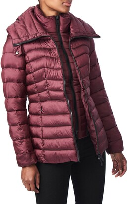 Bernardo Packable EcoPlume Hooded Puffer Jacket