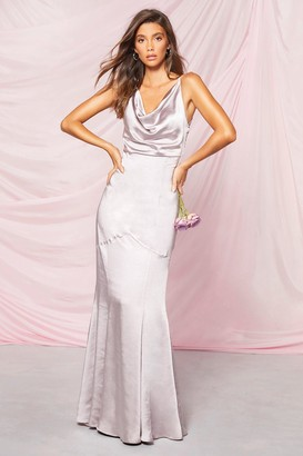 boohoo Occasion Satin Cowl Rouche Back Maxi Dress