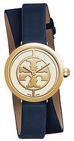 Tory Burch Reva Double-Wrap Watch, Navy Leather/Gold-Tone, 28 Mm