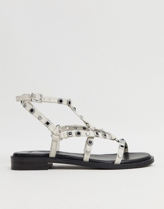Bronx strappy sandals in white leather