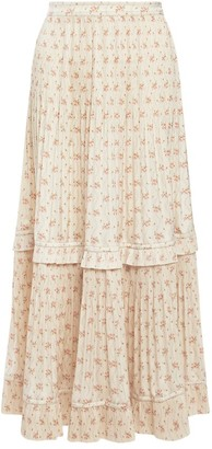Polo Ralph Lauren Jaclyn Floral Belted Pleated Ruffled Maxi Skirt