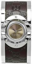 Gucci YA112433 Women's Twirl Brown Stainless Steel & Leather Watch