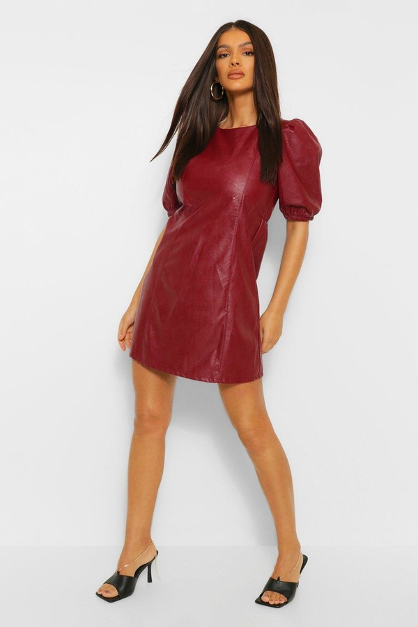 boohoo PU Cross Back Skater Dress