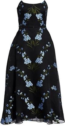 Lela Rose Wildflower Strapless Cocktail Dress