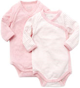 Giggle organic cotton long-sleeve baby bodysuit - heathered 2-pack