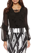 Bisou Bisou Long Sleeve Ruffle Lace Up Top