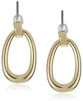 """Napier """"Heavy Metal"""" Polished Gold-Tone Open Oval Doorknocker Drop Earrings"""