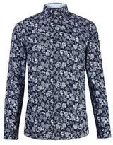 Burton Mens Navy Floral Print Long Sleeve Shirt