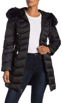 Tahari Grace Faux Fur Hooded Puffer Jacket