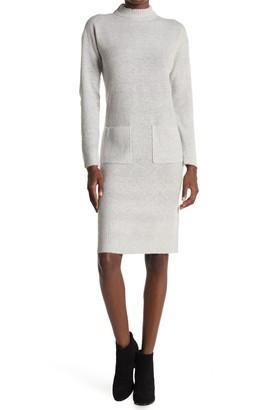 RD Style Mock Neck Patch Pocket Sweater Dress