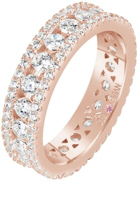 Suzy Levian 14K Rose Gold Plated Sterling Silver CZ Three Row Modern Eternity Band Ring