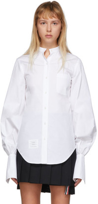 Thom Browne White Gathered Sleeve Shirt