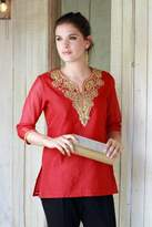 Embellished Red Cotton and Silk Tunic with Embroidery, 'Jaipuri Romance'