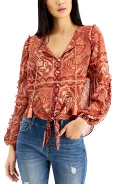 INC International Concepts Inc Petite Printed Tie-Front Tassel Shirt, Created for Macy's