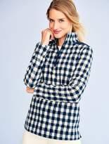 Talbots Grid Check Fleece Half-Zip Pullover