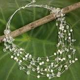 Handmade Bridal Beaded Quartz and Pearl Necklace, 'Cascade'