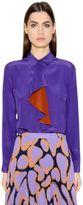 Marco De Vincenzo Silk Crepe De Chine Shirt W/ Ruffle