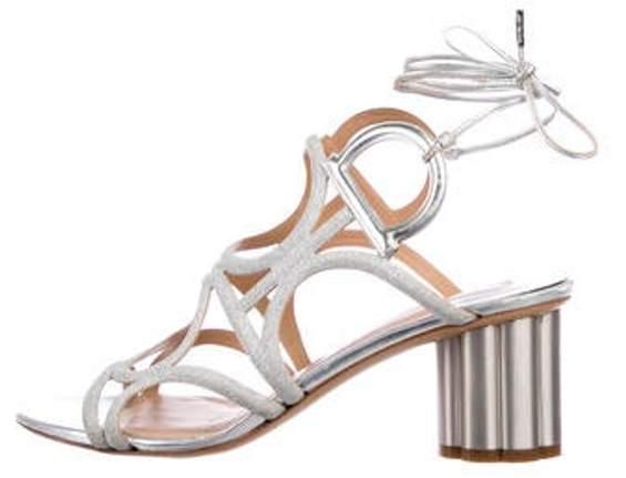 Salvatore Ferragamo Caged Glitter Sandals Silver Caged Glitter Sandals