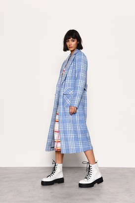 Glamorous Womens **Blue And White Check Duster Coat By Blue