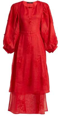 Vita Kin - Happy Flowers Floral-embroidered Layered Dress - Womens - Red