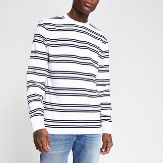 River Island White stripe slim fit long sleeve T-shirt
