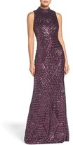 Vince Camuto Sequin Mock Neck Gown