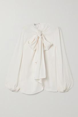 Valentino Tie-neck Silk-crepe Blouse - Ivory