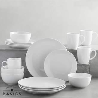 Pottery Barn Teen Design Crew Basics Coupe Set, 16pc Place Setting, White Porcelain