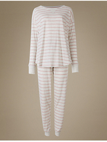 M&S Collection Cotton Rich Striped Long Sleeve Pyjamas