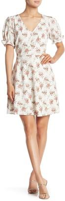 Sugar Lips Short Sleeve Floral V-Neck Dress